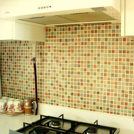 Mosaic Tile Pattern Contact Paper Peel and Stick Wallpaper HWP-021 Application