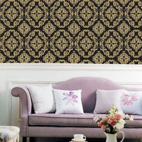 Gold Black Contact Paper Peel and Stick Wallpaper HWP-043 Display
