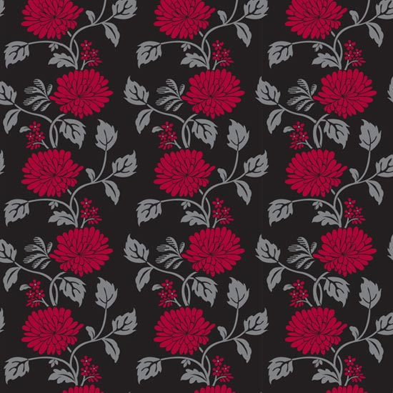 Red Flower Black Contact Paper Peel And Stick Wallpaper