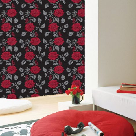 Red Flower Black Contact Paper Peel and Stick Wallpaper HWP-058 Application