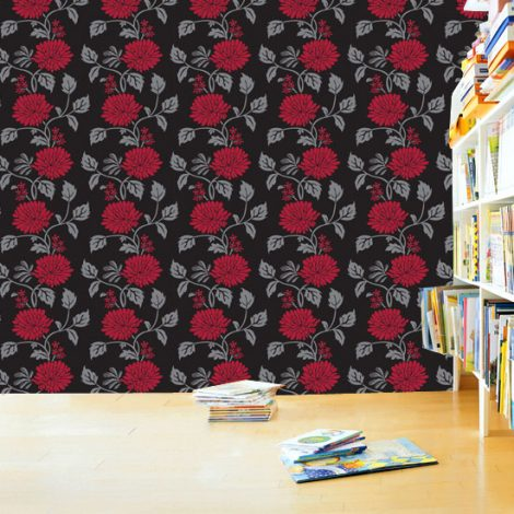 Red Flower Black Contact Paper Peel and Stick Wallpaper HWP-058 Sample Display
