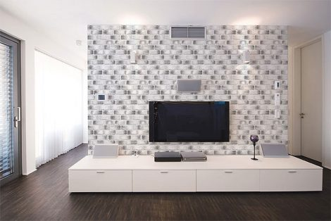 Modern Black Brick Contact Paper Peel and Stick Wallpaper Wall Stickers Display