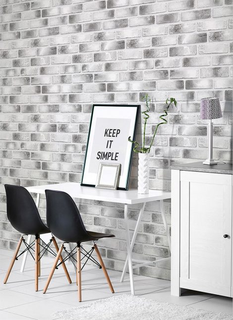 Modern Black Brick Contact Paper Peel and Stick Wallpaper Wall Stickers Sample