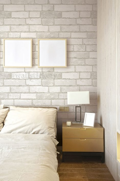 White Grey Brick Contact Paper Peel Stick Wallpaper HWP-21633 display