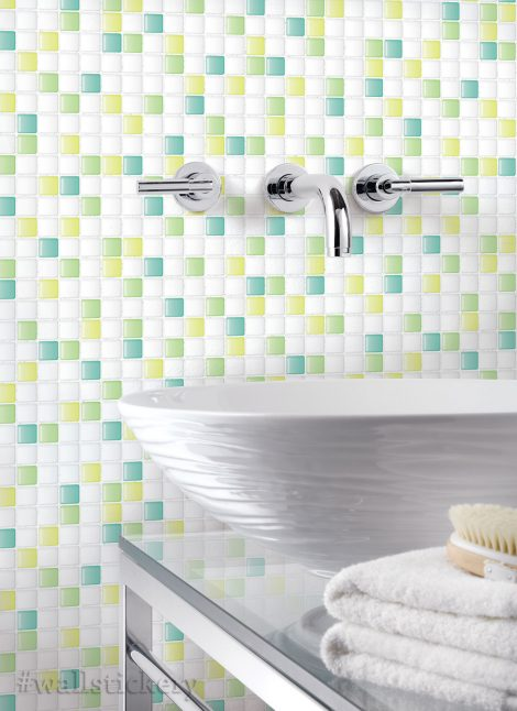 Green Candy Tile Contact Paper Peel and Stick Wallpaper Sample Display
