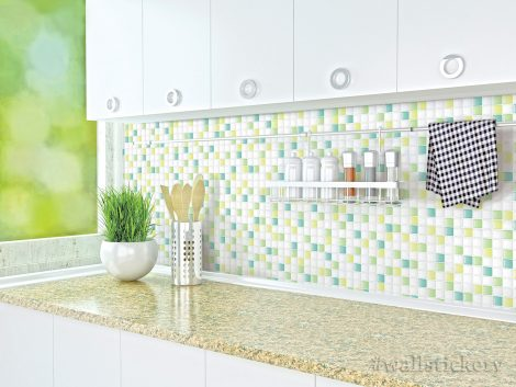 Green Candy Tile Contact Paper Peel and Stick Wallpaper Display