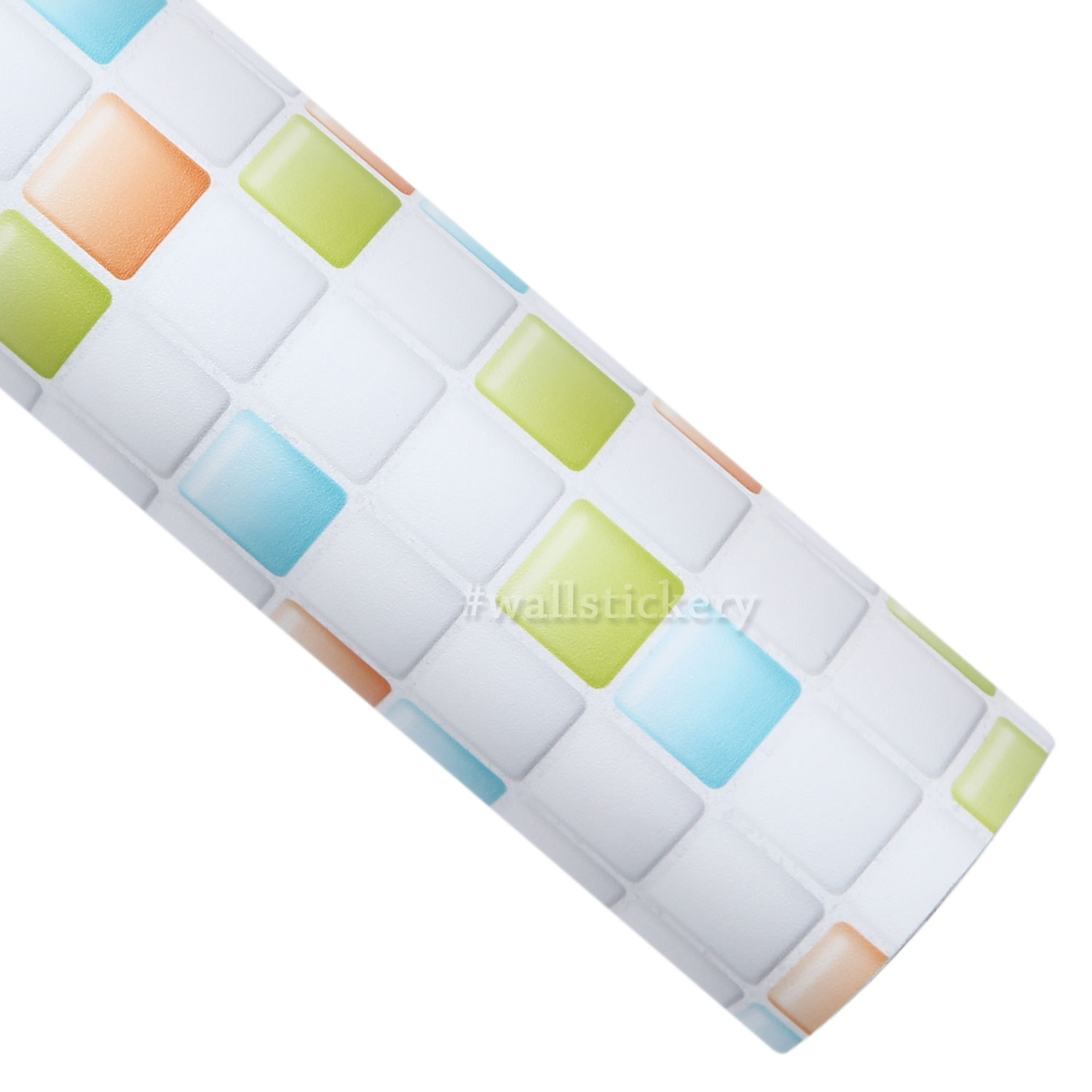 Mix candy tile contact paper peel and stick wallpaper for Orange peel and stick wallpaper