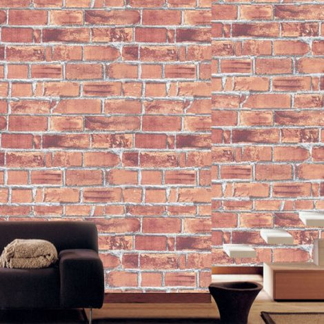 Red Brick Contact Paper Peel and Stick Wallpaper DBS-01 Application