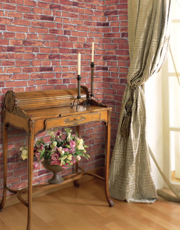 Red Brick Contact Paper Peel and Stick Wallpaper DBS-01 Display