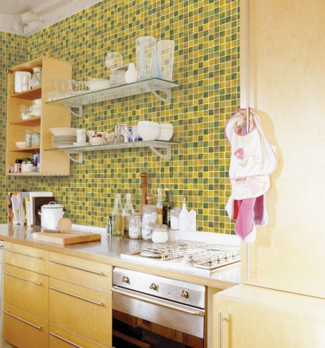 Yellow Green Square Pattern Contact Paper Peel Stick Wallpaper DPS-11 Display