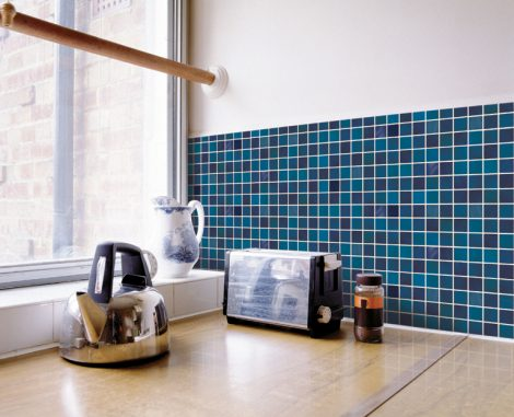 Blue Tile Pattern Contact Paper Peel and Stick Wallpaper DPS-13 Application