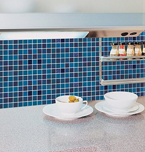 Blue Tile Pattern Contact Paper Peel and Stick Wallpaper DPS-13 Decoration