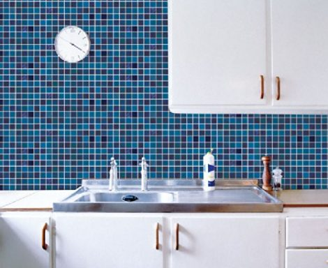 Blue Tile Pattern Contact Paper Peel and Stick Wallpaper DPS-13 Display