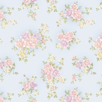 Rose Pattern Blue Contact Paper Peel and Stick Wallpaper DPS-15