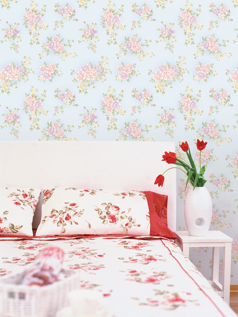 Rose Pattern Blue Contact Paper Peel and Stick Wallpaper DPS-15 Application