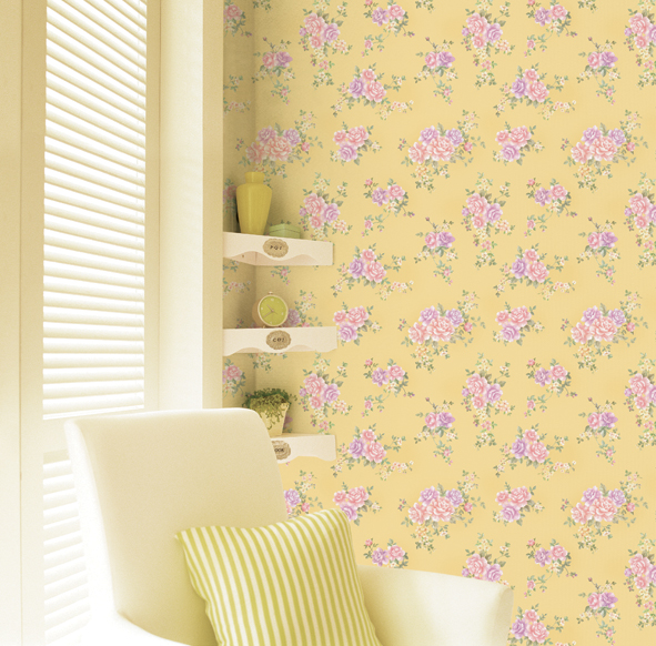 Rose Pattern Mustard Yellow Contact Paper Peel Stick Wallpaper DPS-21 Display