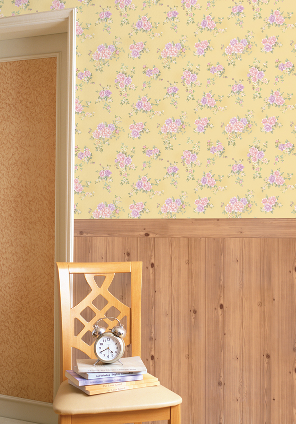 Rose Pattern Mustard Yellow Contact Paper Peel Stick Wallpaper