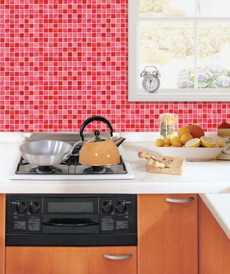 Red Tile Look Contact Paper Peel Stick Wallpaper DPS-26 Sample