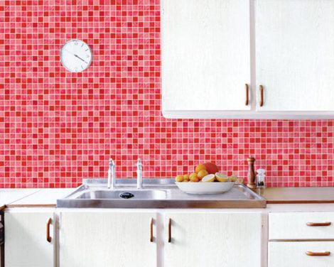 Red Tile Look Contact Paper Peel Stick Wallpaper DPS-26 Display