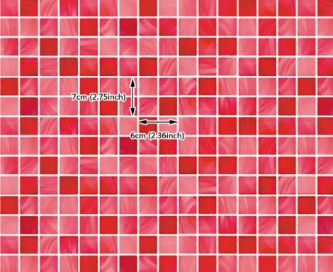 Red Tile Look Contact Paper Peel Stick Wallpaper DPS-26 Size
