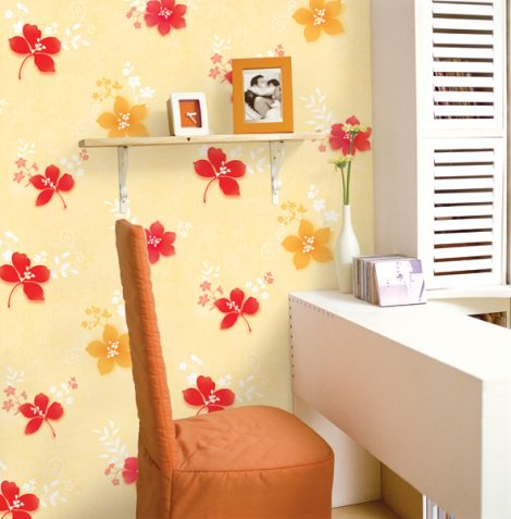 Red Yellow Flower Contact Paper Peel Stick Wallpaper DPS-38 Display