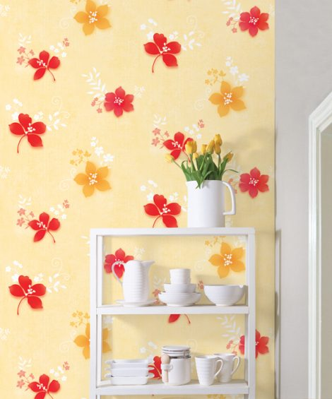 Red Yellow Flower Contact Paper Peel Stick Wallpaper DPS-38 application