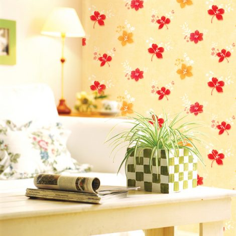Red Yellow Flower Contact Paper Peel Stick Wallpaper DPS-38 Decoration