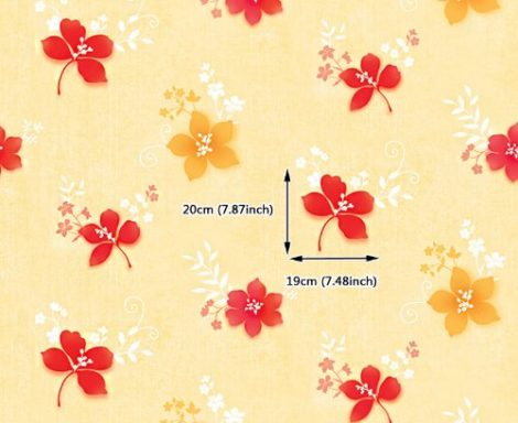 Red Yellow Flower Contact Paper Peel Stick Wallpaper DPS-38 Pattern Size