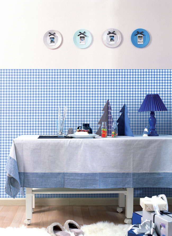 Check Pattern Blue Contact Paper Peel Stick Wallpaper DPS-40 Sample