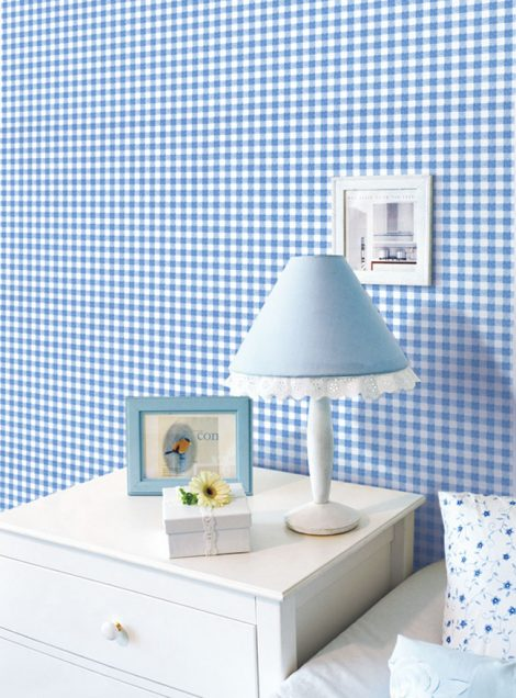 Check Pattern Blue Contact Paper Peel Stick Wallpaper DPS-40 Display