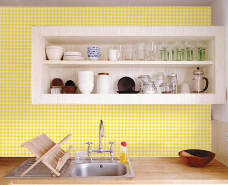 Check Pattern Yellow Contact Paper Peel Stick Wallpaper DPS-41 Application
