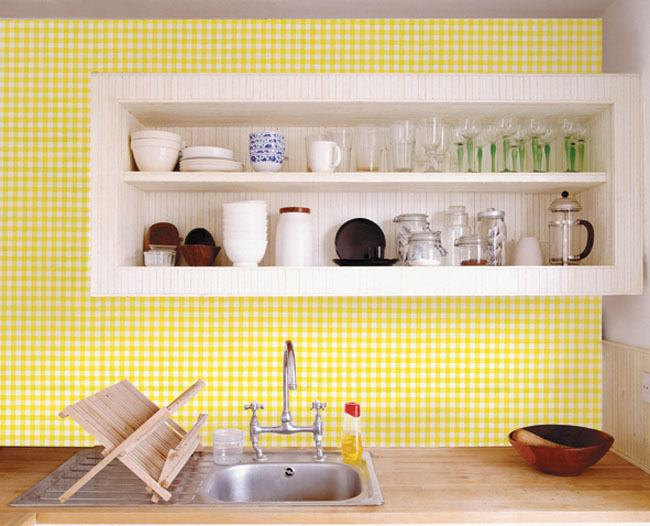 Check Pattern Yellow Contact Paper Peel Stick Wallpaper