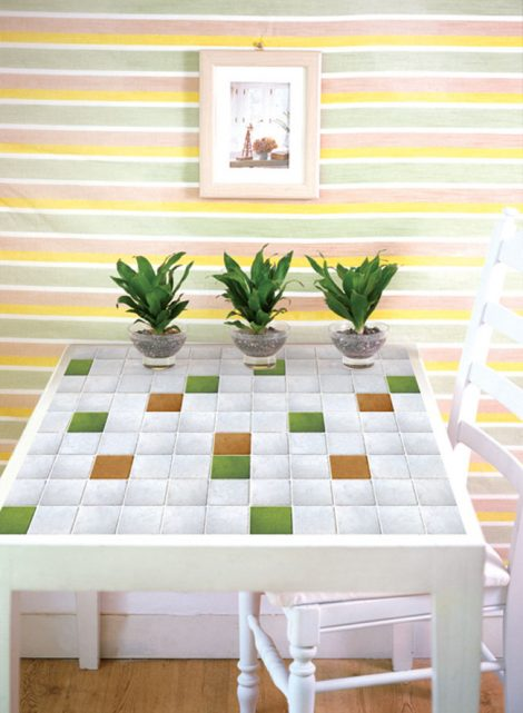 Yellow Ocher Green Tile Contact Paper Peel Stick Wallpaper DPS-48 Application