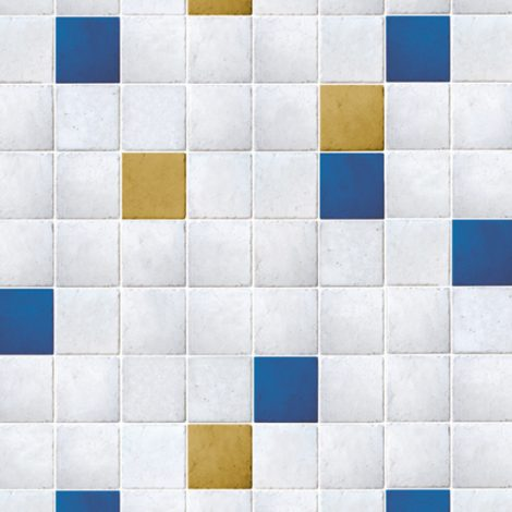 Yellow Ocher Blue Tile Contact Paper Peel Stick Wallpaper DPS-51