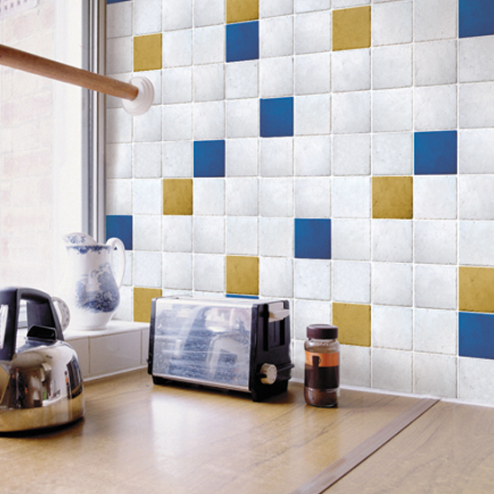 Yellow Ocher Blue Tile Contact Paper Peel Stick Wallpaper DPS-51 Application