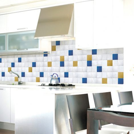 Yellow Ocher Blue Tile Contact Paper Peel Stick Wallpaper DPS-51 Decoration