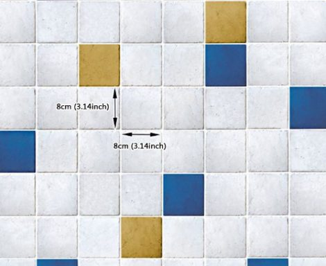 Yellow Ocher Blue Tile Contact Paper Peel Stick Wallpaper DPS-51 Pattern Size