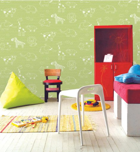 Animal Green Kids Contact Paper Peel Stick Wallpaper DPS-53 Application