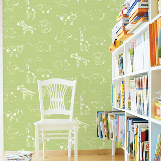 Animal Green Kids Contact Paper Peel Stick Wallpaper DPS-53 Display