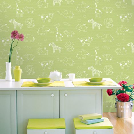 Animal Green Kids Contact Paper Peel Stick Wallpaper DPS-53 Sample