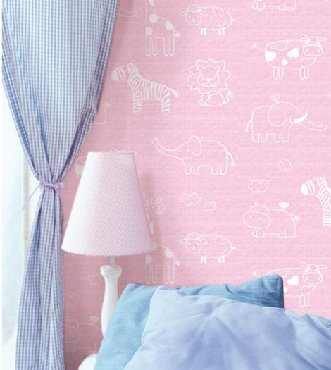 Animal Pink Kids Contact Paper Peel Stick Wallpaper DPS-54 Application