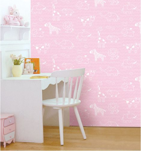Animal Pink Kids Contact Paper Peel Stick Wallpaper DPS-54 Display
