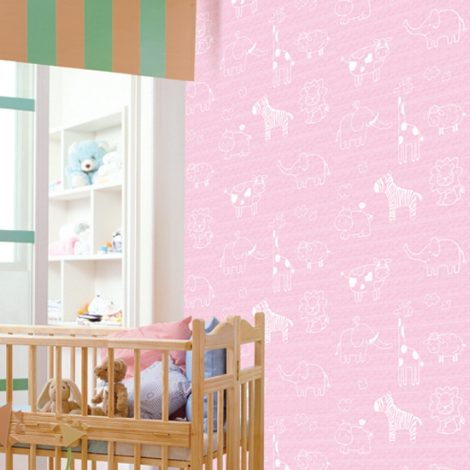 Animal Pink Kids Contact Paper Peel Stick Wallpaper DPS-54 sample