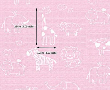 Animal Pink Kids Contact Paper Peel Stick Wallpaper DPS-54 Pattern Size