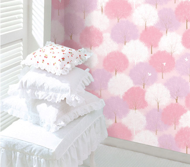 Forest Pink Pattern Contact Paper Peel Stick Wallpaper DPS-61 Display