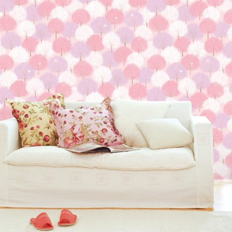 Forest Pink Pattern Contact Paper Peel Stick Wallpaper DPS-61 Application