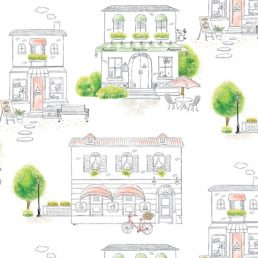 Green Town Pattern Contact Paper Peel Stick Wallpaper DPS-63