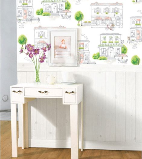 Green Town Pattern Contact Paper Peel Stick Wallpaper DPS-63 Decoration