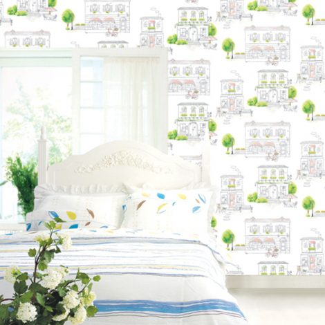 Green Town Pattern Contact Paper Peel Stick Wallpaper DPS-63 Display