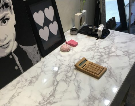 High Glossy Gray Mable Contact Paper Peel Stick Countertop Sheet AWS-30003 Application